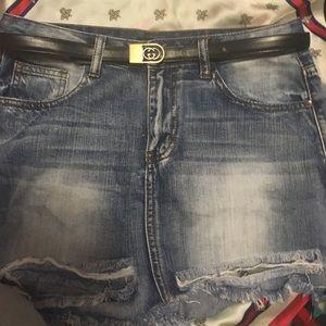 Gucci belt and fashion nova denim mini skirt